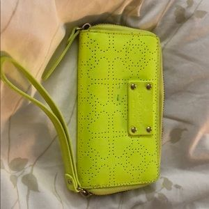Kate Spade yellow zip wallet/wristlet with pockets